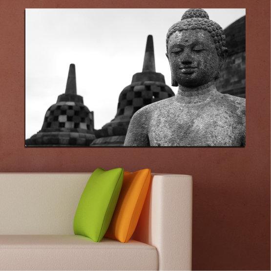 Декоративни панели и картини от канава - от 1 част №0625 » Черен, Сив, Бял, Тъмно сив » Фън шуй, Буда, Статуя, Храм Form #1