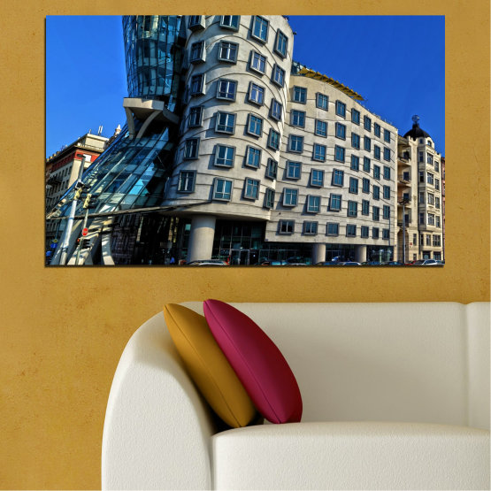 Canvas prints & wall decorative panels - 1 piece №0628 » Blue, Black, Gray, Dark grey » City, Dancing house, Landmark, Capital, Czech republic Form #1