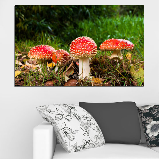 Canvas prints & wall decorative panels - 1 piece №0629 » Green, Brown, Black » Nature, Forest, Mushrooms Form #1