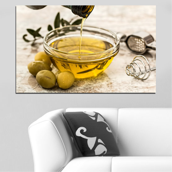 Canvas prints & wall decorative panels - 1 piece №0630 » Brown, Gray, White, Beige » Culinary, Olives, Olive oil Form #1