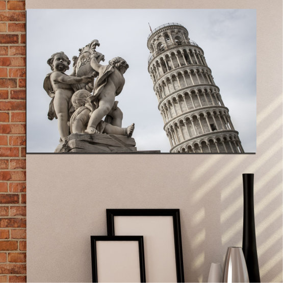 Canvas prints & wall decorative panels - 1 piece №0631 » Brown, Black, Gray, Dark grey » Landmark, Italy, Statue, Tower Form #1