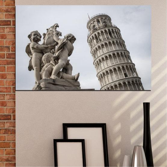 Декоративни панели и картини от канава - от 1 част №0631 » Кафяв, Черен, Сив, Тъмно сив » Забележителност, Италия, Статуя, Кула Form #1