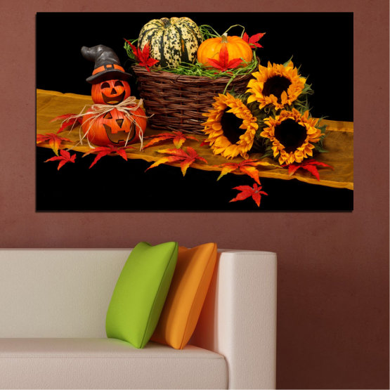Canvas prints & wall decorative panels - 1 piece №0632 » Red, Orange, Brown, Black » Drawing, Culinary, Sunflower, Autumn, Halloween Form #1