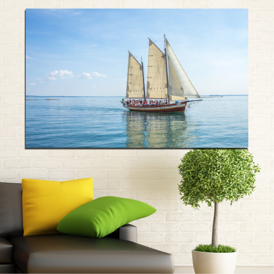 Canvas prints & wall decorative panels - 1 piece №0633 » Turquoise, Gray, White » Water, Sea, Ship, Vehicle, Boat Form #1