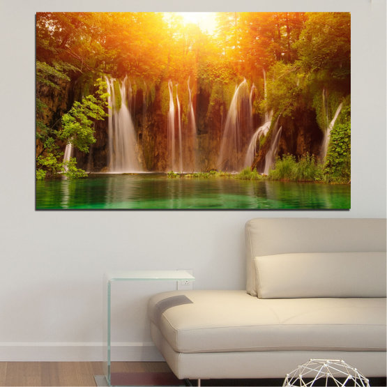 Canvas prints & wall decorative panels - 1 piece №0634 » Green, Yellow, Orange, Brown » Nature, Waterfall, Landscape, Forest, Sunset, Water Form #1