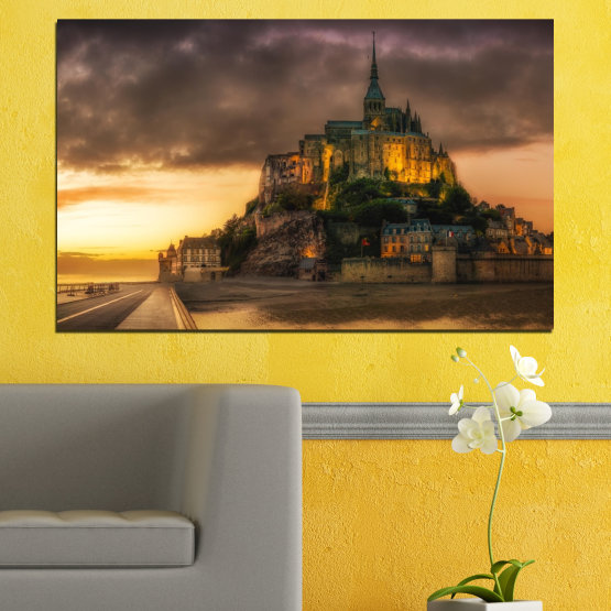 Canvas prints & wall decorative panels - 1 piece №0635 » Orange, Brown, Black, Dark grey » Landmark, Island, Mont saint michel, France Form #1