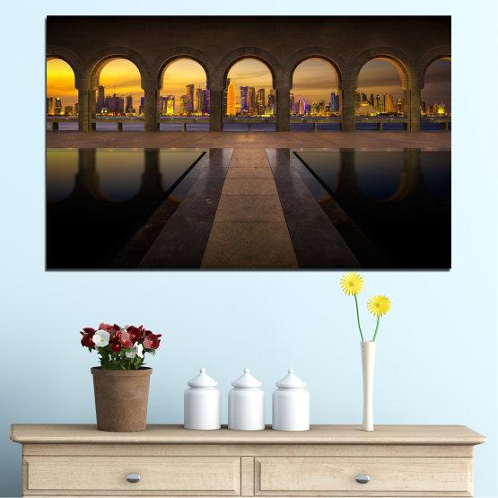 Декоративни панели и картини от канава - от 1 част №0636 » Жълт, Кафяв, Черен, Тъмно сив » Град, Изглед, Нощ, Столица, Катар Form #1