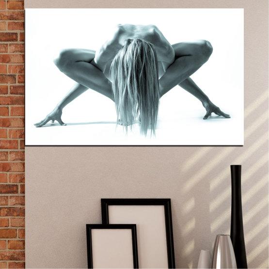 Декоративни панели и картини от канава - от 1 част №0638 » Сив, Бял, Тъмно сив » Жена, Мода, Коса, Спорт Form #1