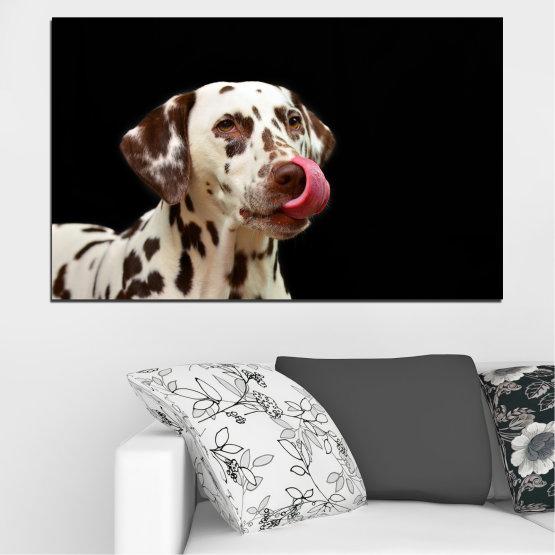 Εκτύπωση σε καμβά και διακοσμητικά πάνελ τοίχου - 1 τεμάχιο №0639 » Καστανός, Μαύρος, Γκρί » Ζώο, Σκύλος, Δαλματίας Form #1