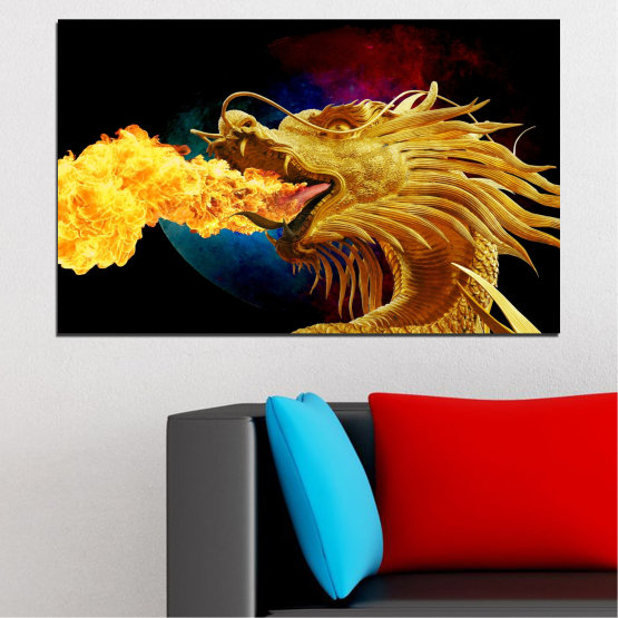 Canvas prints & wall decorative panels - 1 piece №0640 » Red, Yellow, Brown, Black » Animal, Drawing, Fire, Dragon Form #1