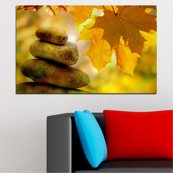 Canvas prints & wall decorative panels - 1 piece №0641 » Green, Orange, Brown » Tree, Stones, Autumn, Leaf Form #1