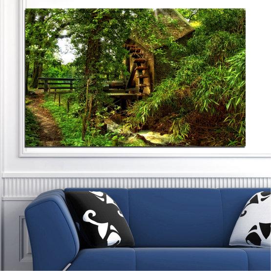 Декоративни панели и картини от канава - от 1 част №0643 » Зелен, Кафяв, Черен » Природа, Гора, Свежест, Мелница Form #1