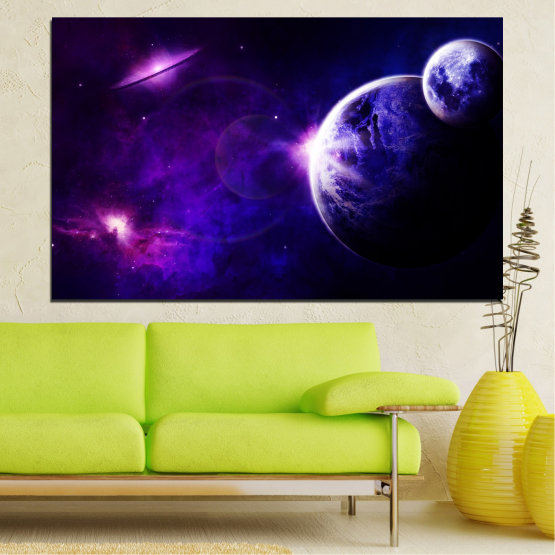 Canvas prints & wall decorative panels - 1 piece №0645 » Purple, Blue, Black, Dark grey » View, Space, Planet Form #1
