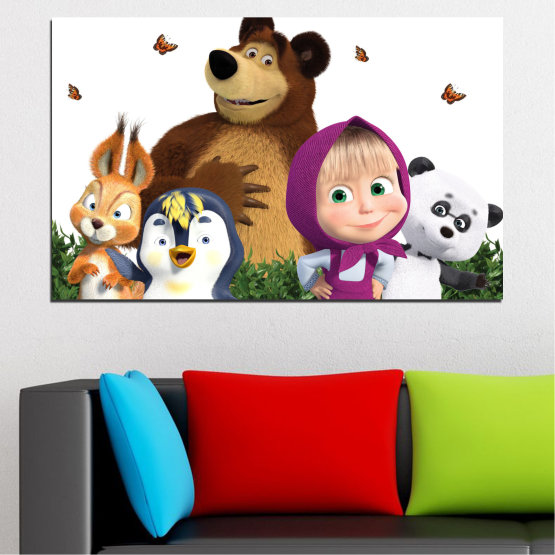 Canvas prints & wall decorative panels - 1 piece №0646 » Brown, White, Beige, Dark grey » Children, Animated, Masha and the bear Form #1