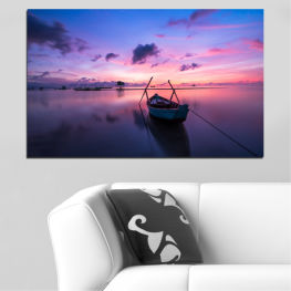 Sunset, Sea, Water, Sky, Boat » Purple, Blue, Gray, Milky pink, Dark grey