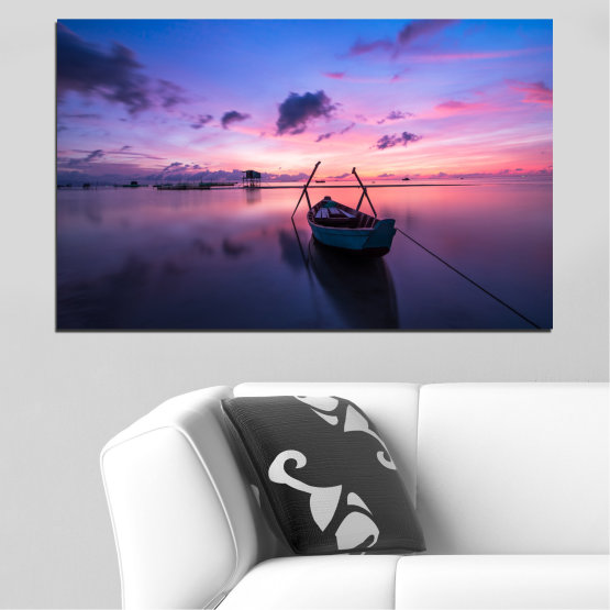 Canvas prints & wall decorative panels - 1 piece №0647 » Purple, Blue, Gray, Milky pink, Dark grey » Sea, Water, Sunset, Sky, Boat Form #1