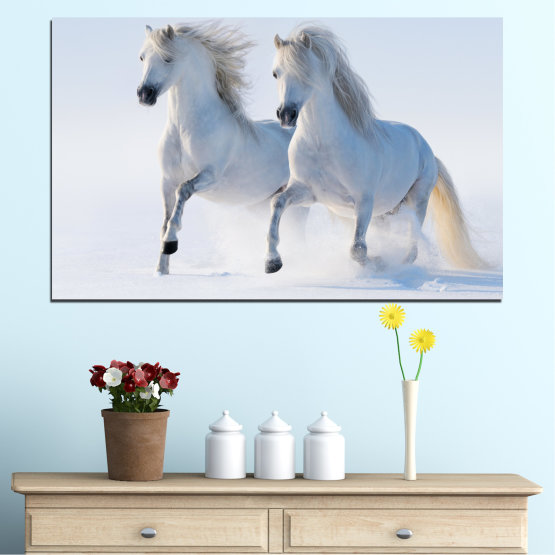 Canvas prints & wall decorative panels - 1 piece №0648 » Gray, White, Dark grey » Animal, Frozen kingdom, Horse, Snow, Winter Form #1