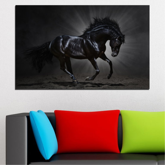 Canvas prints & wall decorative panels - 1 piece №0649 » Red, Black, Gray, White, Dark grey » Animal, Horse, Portrait Form #1