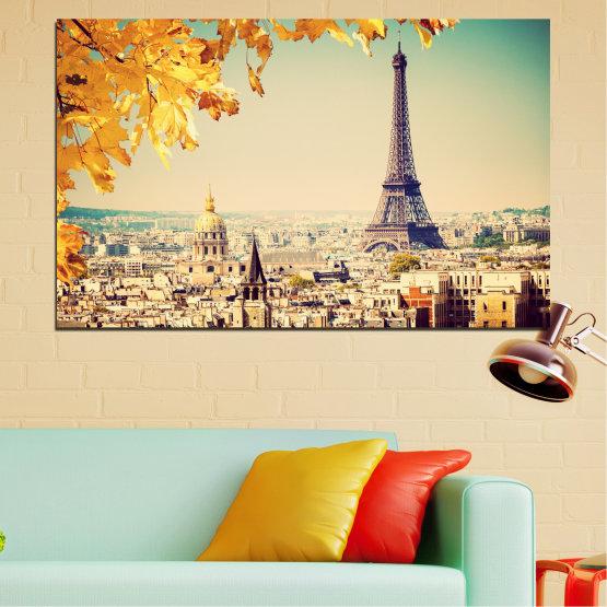 Canvas prints & wall decorative panels - 1 piece №0651 » Yellow, Orange, Gray, Beige, Dark grey » City, Collage, Landmark, Eiffel tower, Paris, France Form #1