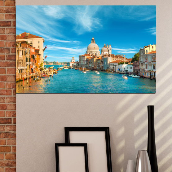 Canvas prints & wall decorative panels - 1 piece №0652 » Blue, Turquoise, Gray, Beige » Water, City, Venice, Italy, Canal Form #1