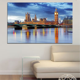City, Water, London, Bridge, Great britain, Big ben » Blue, Turquoise, Gray, Dark grey