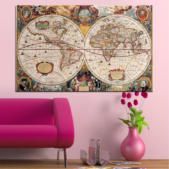 Canvas prints & wall decorative panels - 1 piece №0655 » Brown, Gray, Beige, Dark grey » Collage, Geography, Map Form #1