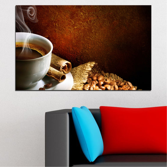 Canvas prints & wall decorative panels - 1 piece №0656 » Red, Brown, Black, Gray » Culinary, Coffee, Drink Form #1