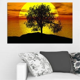 Sunset, Sun, Water, Bay, Tree, Shadow » Yellow, Orange, Brown, Black