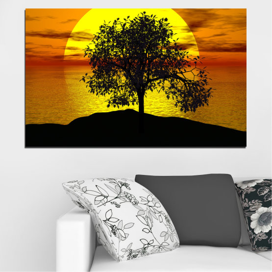 Canvas prints & wall decorative panels - 1 piece №0657 » Yellow, Orange, Brown, Black » Water, Sun, Sunset, Bay, Tree, Shadow Form #1