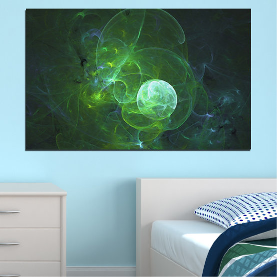 Canvas prints & wall decorative panels - 1 piece №0659 » Red, Green, Black, Dark grey » Abstraction, Smoke, Sphere Form #1