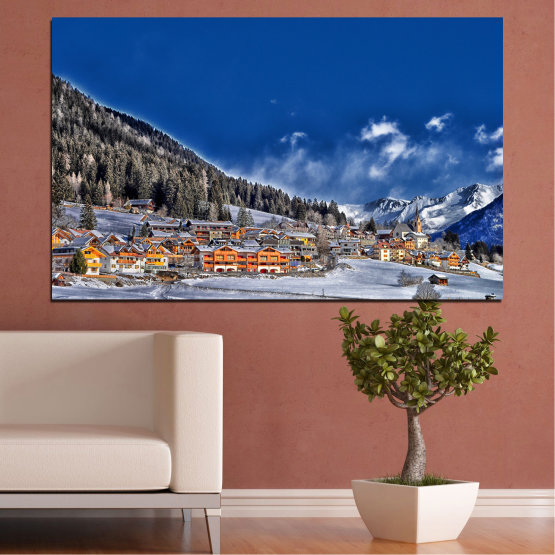 Canvas prints & wall decorative panels - 1 piece №0660 » Blue, Black, Gray, Dark grey » Forest, Mountain, Snow, House, Winter Form #1