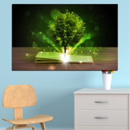 Collage, Tree, Book » Green, Brown, Black, Dark grey