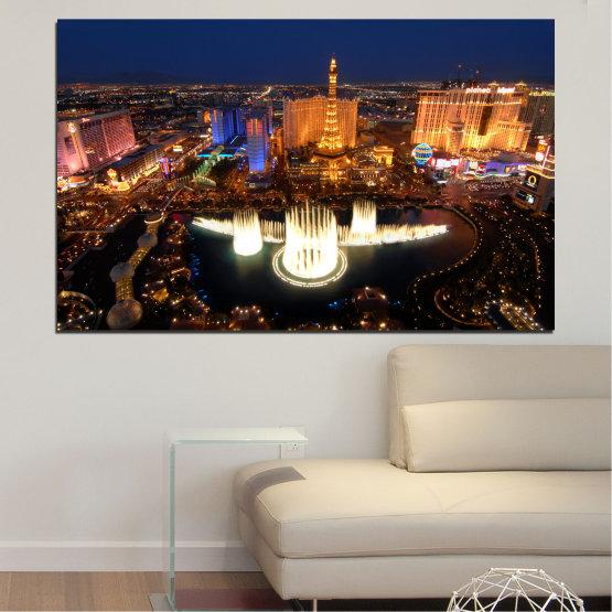 Canvas prints & wall decorative panels - 1 piece №0662 » Orange, Brown, Black, Dark grey » City, Las vegas, Night, Usa Form #1