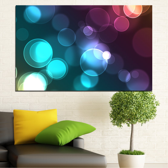 Canvas prints & wall decorative panels - 1 piece №0666 » Blue, Turquoise, Brown, Dark grey » Abstraction, Shine, Colorful Form #1