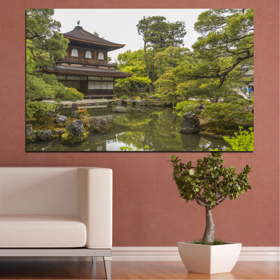 Canvas prints & wall decorative panels - 1 piece №0667 » Green, Brown, Gray, White, Dark grey » Nature, Water, Lake, House, China Form #1