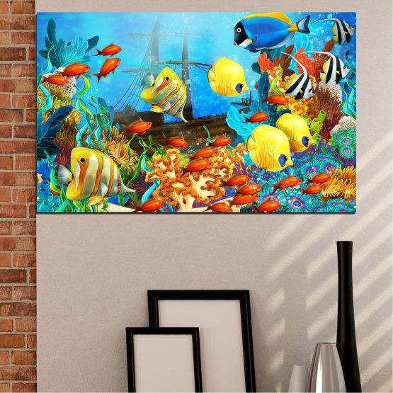Декоративни панели и картини от канава - от 1 част №0668 » Син, Тюркоаз, Жълт, Кафяв, Тъмно сив » Море, Вода, Риба Form #1