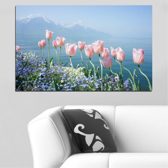 Canvas prints & wall decorative panels - 1 piece №0670 » Blue, Gray, Dark grey » Flowers, Nature, Spring, Tulip Form #1