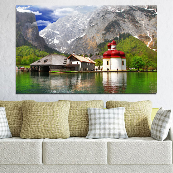 Canvas prints & wall decorative panels - 1 piece №0671 » Green, Gray, White, Dark grey » Water, Mountain, Lake, House Form #1