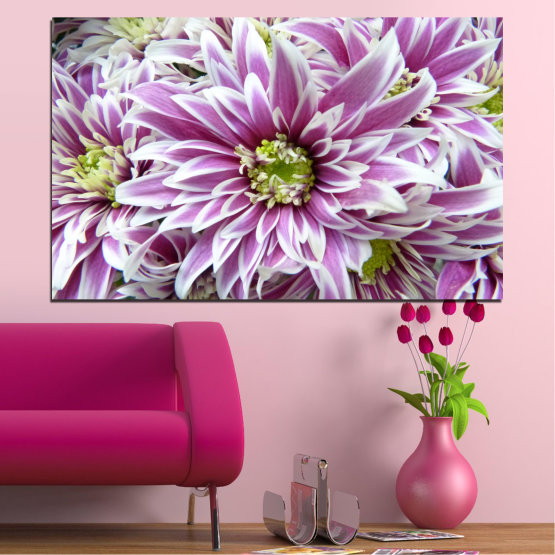 Canvas prints & wall decorative panels - 1 piece №0672 » Purple, Gray, White, Dark grey » Flowers, Spring, Bouquet Form #1