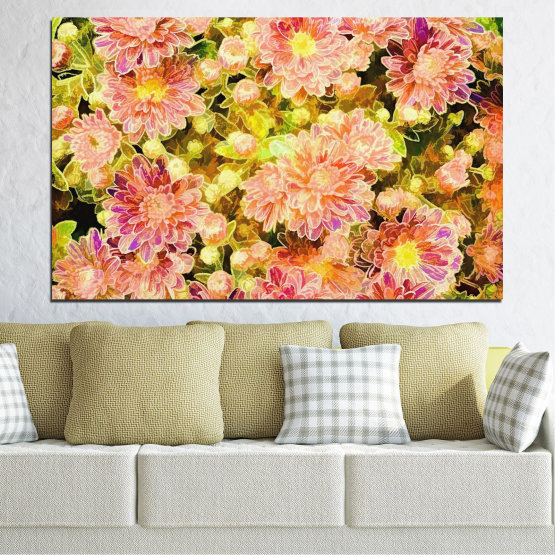 Canvas prints & wall decorative panels - 1 piece №0673 » Pink, Green, Yellow, Orange, Beige » Flowers, Collage, Spring, Bouquet Form #1