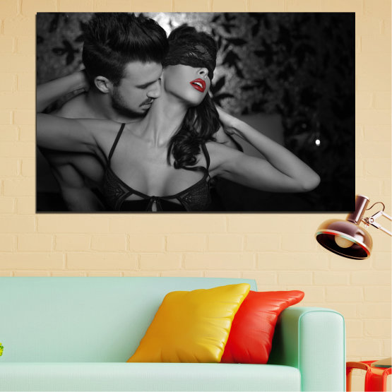 Canvas prints & wall decorative panels - 1 piece №0678 » Black, Gray, White, Dark grey » Woman, Erotic, Color accent Form #1