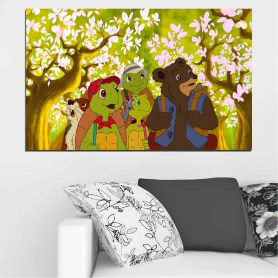 Декоративни панели и картини от канава - от 1 част №0681 » Зелен, Кафяв, Бял, Бежов » Детски, Анимационен, Франклин Form #1