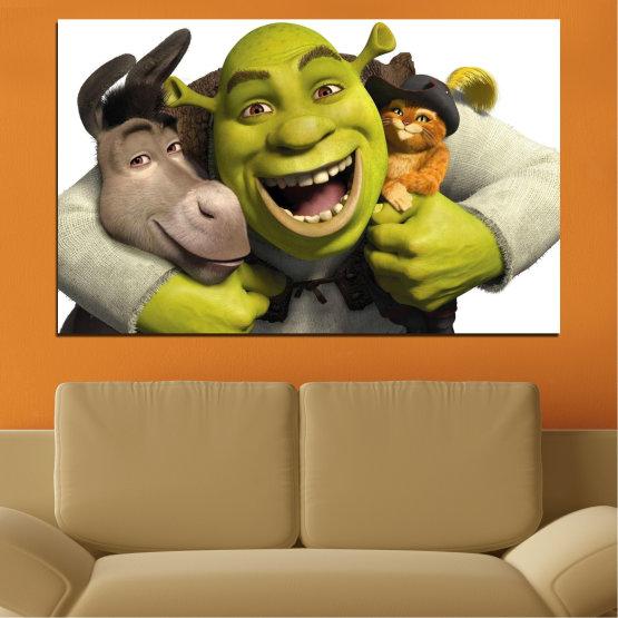 Canvas prints & wall decorative panels - 1 piece №0682 » Green, Black, Gray, White, Dark grey » Children, Animated, Shrek Form #1