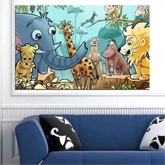 Canvas prints & wall decorative panels - 1 piece №0683 » Turquoise, Black, Gray, Beige » Animal, Children, Animated Form #1