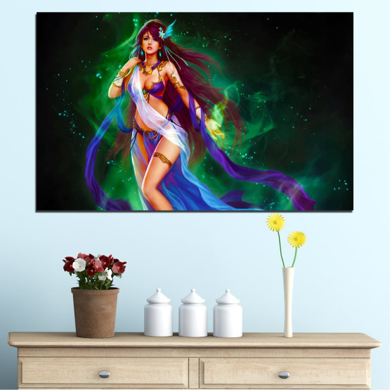 Canvas prints & wall decorative panels - 1 piece №0684 » Red, Blue, Green, Black, Dark grey » Woman, Fairy, Fashion Form #1