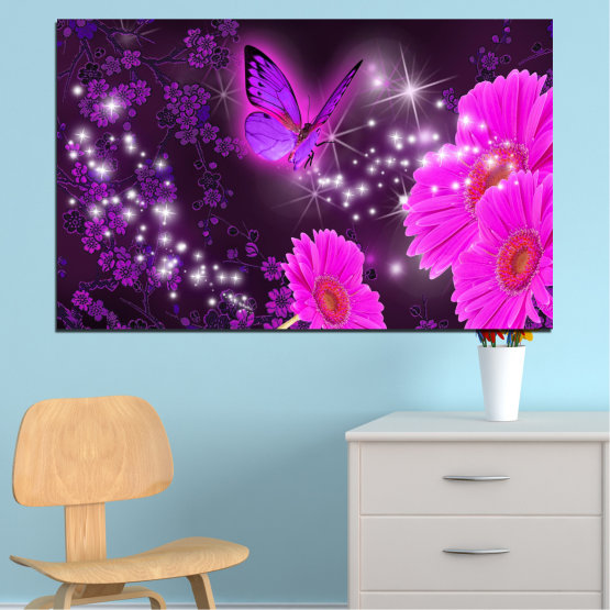 Canvas prints & wall decorative panels - 1 piece №0685 » Pink, Purple, Black, Dark grey » Flowers, Collage, Butterfly, Gerbera Form #1