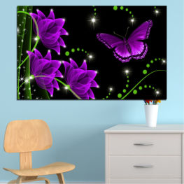 Flowers, Collage, Butterfly » Purple, Green, Black, Dark grey
