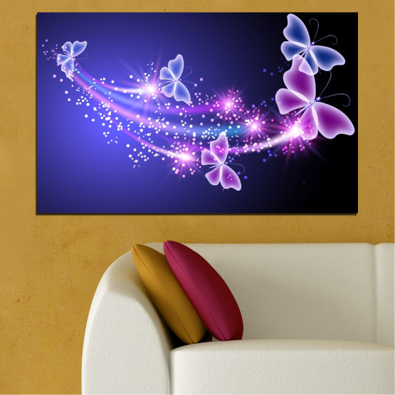Canvas prints & wall decorative panels - 1 piece №0687 » Purple, Blue, Black, Gray, Dark grey » Butterfly, Sky, Star Form #1