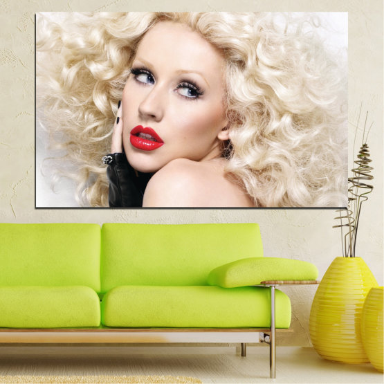 Canvas prints & wall decorative panels - 1 piece №0688 » Brown, Gray, White, Beige » Woman, Fashion, Portrait, Hair, Christina aguilera, Makeup Form #1