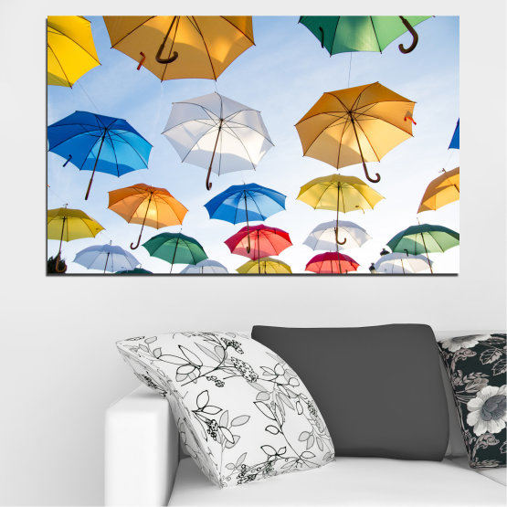 Canvas prints & wall decorative panels - 1 piece №0689 » Orange, Brown, Gray, White » Collage, Sky, Umbrella Form #1